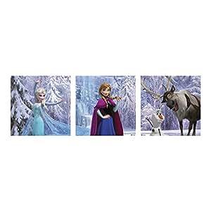 Frozen Set de 3 toiles imprimées 20x60cm La Reine des Neiges Multicolo
