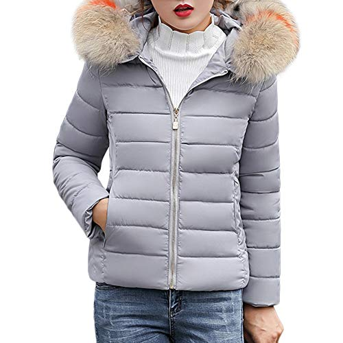 MEIbax Damen Winter Warm Faux Pelzkapuze Outwear Dicke Warme Jacke Mantel Slim fit Steppjacke...