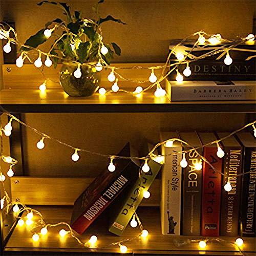 50 Leds Globe Lichterkette Warmweiß,Nashaira Innen und Außen Deko Glühbirne Lichterkette IP44 Wasserdicht für Party, Garten, Weihnachten, Halloween, Hochzeit, Beleuchtung Deko Wohnzimmer