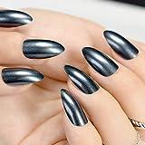 24/Kit Shimmer Glitzer UV-Finish Nägel Spitz Medium Schwarz Stiletto Acryl Nail Art Tipps Design Almond Fake Nägel Z761