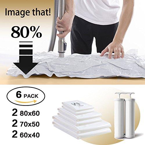 Vakuum Aufbewahrungsbeutel - Set aus 6(2*Groß(80*60CM)+2*Mittel(70*50CM) + 2*Klein(60*40cm)) Wiederverwendbaren Platzsparern mit Kostenloser DOPPELTE Handpumpe für Kleidung, Bettdecken, Bettwäsche, Kissen, Wolldecken, Vorhänge