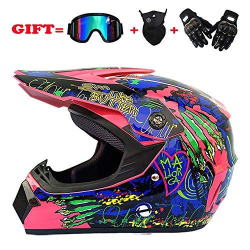 Goldt1 Full Face Motocross Helm Road Off-Road Racing Helm für Männer und Frauen mit winddichter Halbmaske und Reithandschuhen mit harten Schalen - großer Helm mit Vollhelm Anti-Fog (Size : XXL) -