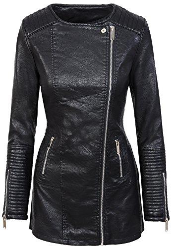 Damen Mantel Kunstledermantel D-303 [5A146 Schwarz S]