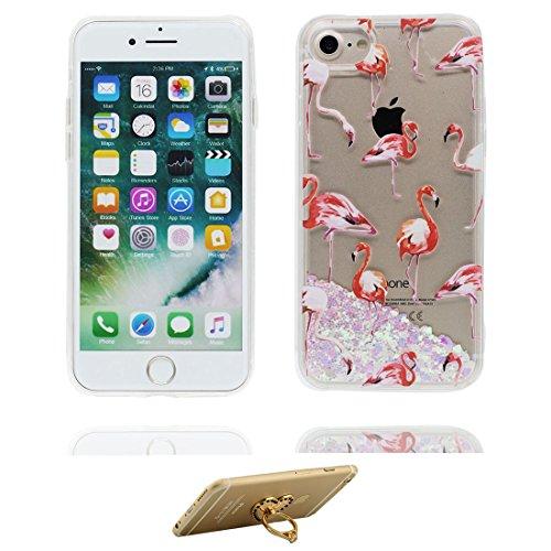 """iPhone 7 Hülle, Skin harte freie Handyhülle iPhone 7, Glitter Bling Transparent Hard Clear funkelt Shinny fließend, Apple iPhone 7 Case Cover 4.7"""", Schock-bestän und Ring Ständer (Pferd) # 4"""