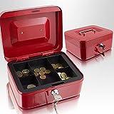 Geldkassette 20 cm klein abschließbar Münz Geld Zählbrett Kasse Safe Rot 200mm