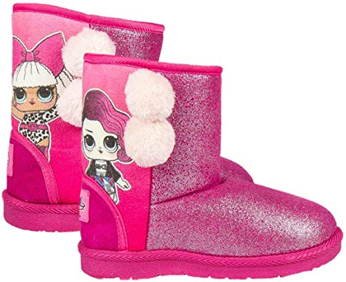 L O L Surprise! | Girls Boots | Kids Casual Winter Shoes | Warm Cosy Fleece Lining | Soft Sole Snow Boots | Cute Glitter Fluffy Pom Pom Pink Design! |