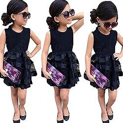 Covermason Elegant Baby Girls Princess Dresses Toddler Kids Party Pageant Wedding Event Tulle Tutu Stripe Clothing