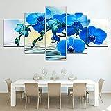 zayduo Leinwandbilder Bilder auf Die blauen Orchideen Blume Versand 5 Panels Tapeten Moderne modulare Poster Kunst Leinwand Malerei für Wohnzimmer Home Decor