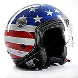 """'Casco de Moto Casco Jet Chopper Cafe Racer cmx """"Stars and Stripes de Estados Unidos Flag"""