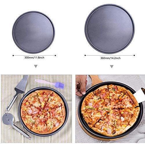 Non-stick Steel Pan Torte (Ouken Pizza Pan 12/14 Zoll Non-Stick Carbon Steel Round-Backen-Wannen-Torte-Kuchen-Form Pizza-Wannen-Behälter Heim Bäckerei Küchen-Backen-Werkzeug)
