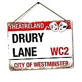 WTF | Drury Lane - Theatre Land | Twine - Metal Wall Sign Plaque Art Inspirational