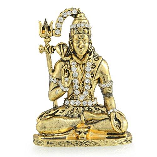 Divine Gifts Shiva Shankar With Snake Brass Idol for car dashboard (212)