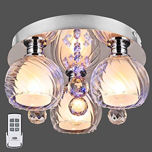 LED Deckenleuchte + Fernbedienung + Effekt Blau Beleuchtung Chrom Deckenlampe Rund Lampe Küche Flur Wohnen 656-3C