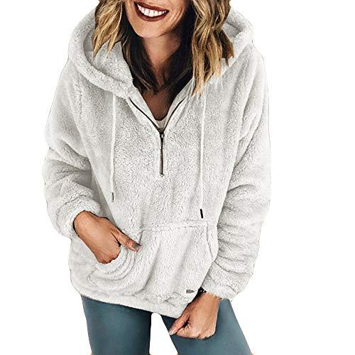 Damen Strickjacke MYMYG Kapuzenpullover Lang Teddy Hoodie Frauen Kapuzenpulli Winter Warme Pullover Blusen Teddy-Fleece Pullover mit Reißverschluss Taschen(WeißEU:34/CN-S)