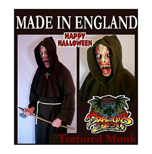 gefoltert Mönch Maske & Bademantel Deluxe Halloween Kostüm