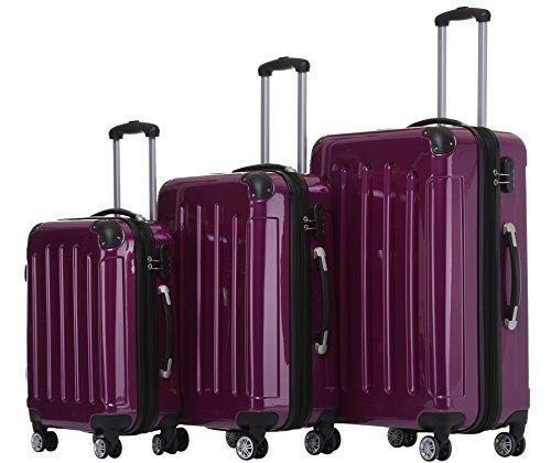 BEIBYE- 3er Kofferset Hartschalen-Koffer Reisekoffer Trolley Rollkoffer Set Reisekofferset (Lila)