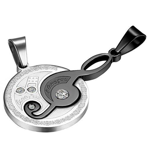 Cupimatch 2pcs Rhinestone música Nota de acero inoxidable mejor amigo Puzzle colgante par Collar con cadena 55cm y 50cm