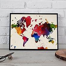 Lámina para enmarcar MAPAMUNDI. MAPA DEL MUNDO. Poster con imágenes del mundo de estilo acuarela. Lámina mapas. Decoración de hogar. Láminas tamaño 30x40 para enmarcar. Papel 250 gramos alta calidad