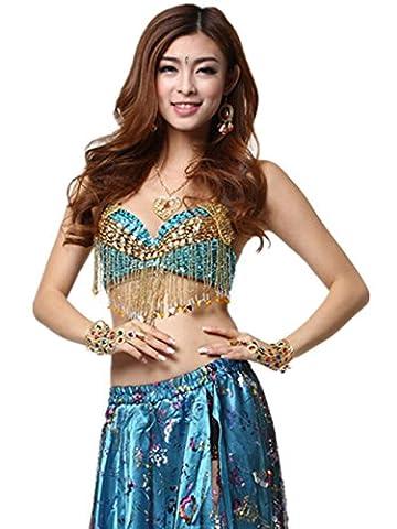 Les costumes Dancewear Tops Soutien-gorge Soutien-gorge perle frange Fleur à Paillettes Dessus Belly
