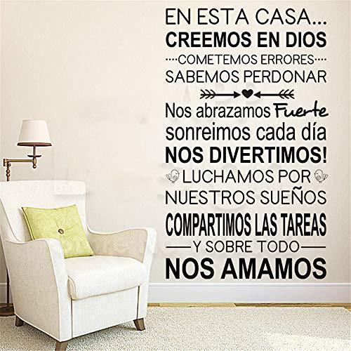 Wandtattoo Wohnzimmer Art Home Decor Spanisch Home Rules Words Bunte Haus Dekoration Family Quote Room Decals (Word-familien-haus)
