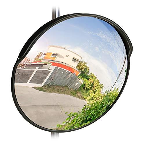 Relaxdays 10028415 Specchio Convesso 60 cm, Resistente alle Intemperie, Infrangibile, per Esterni & Interni, incl. Supporto, Nero, 60 x 60 x 25 cm