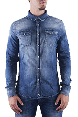 FIFTY FOUR - Camicia jeans manica lunga uomo canny Denim chiaro