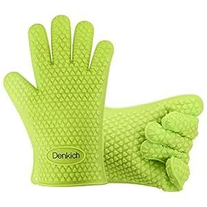 gants de cuisine denkich paire gants en silicone etanche imperm able pour barbecue grill cuisine. Black Bedroom Furniture Sets. Home Design Ideas