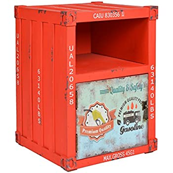 ts ideen kommode schrank nachttisch regal schlafzimmer container in rot industrie design shabby. Black Bedroom Furniture Sets. Home Design Ideas