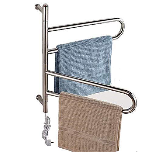 Schwenkbarer Handtuchwärmer (Handtuchstangen Elektrischer Handtuchwärmer für das Bad, Wandmontage, moderner, gebogener, schwenkbarer Handtuchhalter aus Edelstahl, mehrschichtiges Design, 600 * 560 * 125 mm-5W Handtuchständer)
