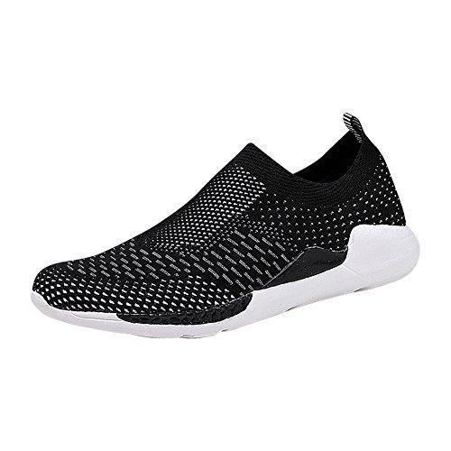 Sportschuhe Mesh Atmungsaktive Sneakers Leicht Laufschuhe, Ohne Schnürsenkel, Schwarz Grau Slip on Schuhe (Schuh-schnürsenkel-lichter)