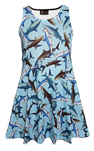 Girl's Children's Cute Sharks Sealife Animal Print Sleeveless Skater Dress