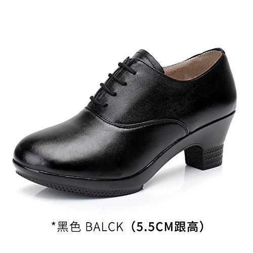 Wuyulunbi@ Scarpe da ballo con fondo morbido scarpe scarpe High-Heeled Nero e nero nero tacco medio