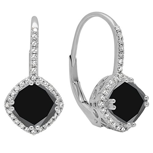 2,20Karat (ctw), 14K Weiß Gold Kissen schwarz & weiß rund Diamant Damen Halo Stil Creolen (Akzent-kissen, Schwarz Und Weiß)