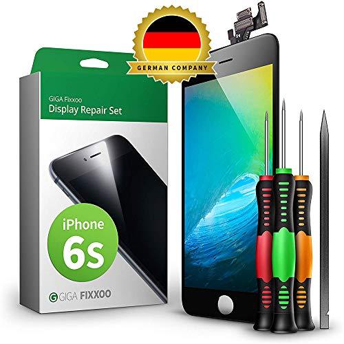 GIGA Fixxoo Display Set kompatibel mit iPhone 6s, Reparaturset Komplett Schwarz, Ersatz Bildschirm, Retina LCD Glas mit Touchscreen, inkl. integrierte Frontkamera & Werkzeug