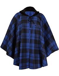 Womens Plus Size Check Print Ladies Faux Fur Fleece Collared Tie Poncho Cape Coat