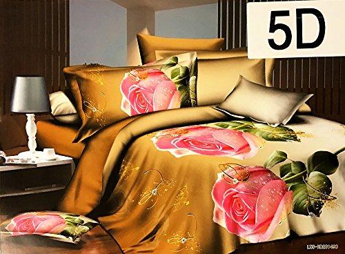 Floral Bettdecke In Voller Größe (Komplett Set Luxus–Steppdecke Bettwäsche-Set mit Kissen, Bettlaken und Kissenbezug (Doppelbett/King Size), braun, King Size)