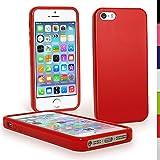 igadgitz u1180Étui TPU pour Apple iPhone 5& 5S Coque avec Film–Rouge