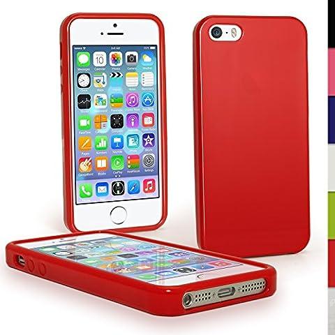 igadgitz Rouge Étui Coque TPU Brilliant pour Apple iPhone SE, 5S & 5 4G LTE + Protecteur d'écran (ne convient pas a l'iPhone