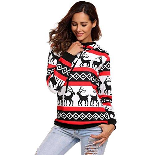 Kragen Hund Weihnachten (Damen Weihnachts Sweatshirt, Hmeng Hoodies Weihnachtspullover Pullover Kapuzenpullover Langarmshirt Kapuzenpulli Oberteile Blusen (Weiß, L))