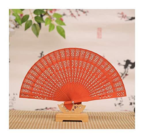 JUNHONGZHANG 2PCS Chinesischer Geschenkfächer Farbiger Zedernlüfter Passend Für Tanzreise (20Cm), Orange Gelb (Orange Farbige Kostüme)