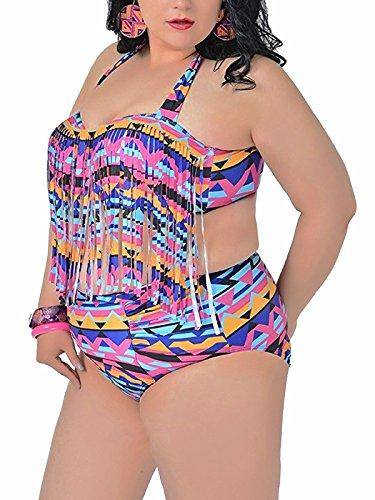 Azue Damen Frau Oversize Bikini Set Große Größen Badeanzug Hohe Taille Push-up Bademode Neckholder Schwimmanzug Quaste Bauchweg Top Tankini Set (Crochet Hipster Panty Lace)