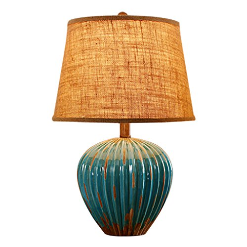 Home experience- Europäische Retro Tischlampe Keramik E27 Beleuchtung Antike ( Farbe : Blau )