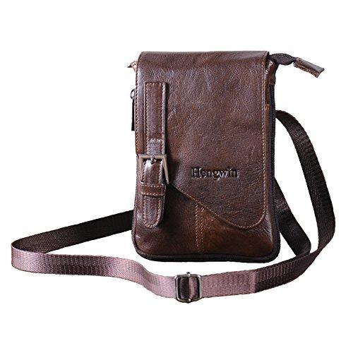 Herren Umhänge Tasche, Hengying Echt Leder Retro Cross Body Schultertasche Kleine Umhängetasche Ledertasche mit Viele Fächer (Braun)
