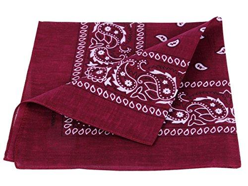 Bandana bordeaux paisley multifunzione classica BA-95 di colori diversi foulard