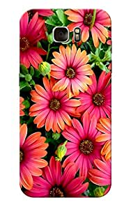 Samsung S7 Edge, Pink Flower Slim Fit Hard Case Cover/Back Cover for Samsung S7 Edge