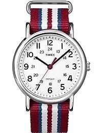 Timex T2N746D7 Orologio da Polso al Quarzo, Analogico, Unisex, Sintetico, Bianco/Rosso