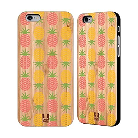 Head Case Designs Kakao Und Ananas Hawaiianisch Hülle mit Rückseite aus Bambus Holz für Apple iPhone 6 / (Hawaiianische Ananas)