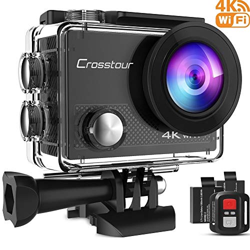Crosstour 4K 16MP Action Cam WIFI Subacquea Ultra HD Sport Action Camera 170° Grandangolare Telecomando Due 1050mAh Batterie Custodia Impermeabile e 20 Kit di Accessori