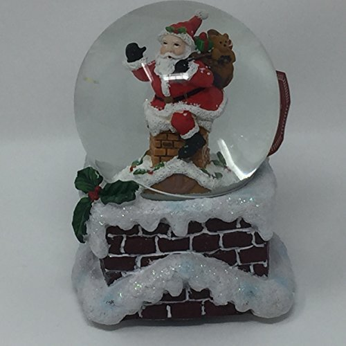 Balsam & Fir Santa Coming Down Kamin mit Eine Pattern of Christmas Presents Musical Snow Globe-We Wish You a Merry Christmas