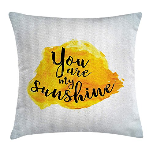 Quotes Decor Throw Pillow Cushion Cover, Inspirational Phrase on Watercolors Irregular Set Motto Mindful Life Image, Decorative Square Accent Pillow Case, 18 X 18 inchess, Yellow Black